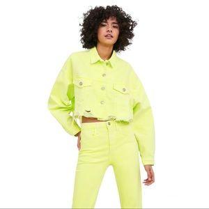Zara Neon Green Cropped Denim Jacket size S